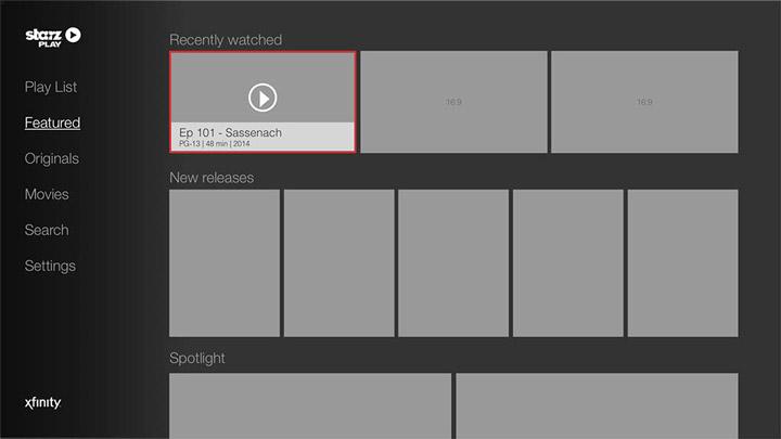 Wireframe - Roku - Featured Menu