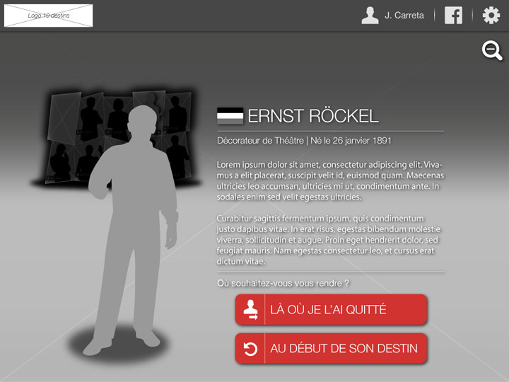 Wireframe - Character profile screen