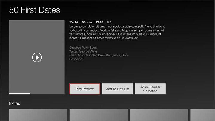 Wireframe - Smart TV - Movies details