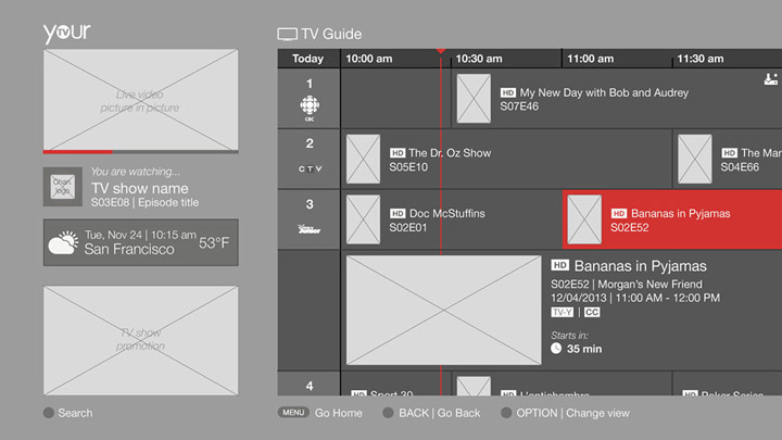 Wireframe - TV guide