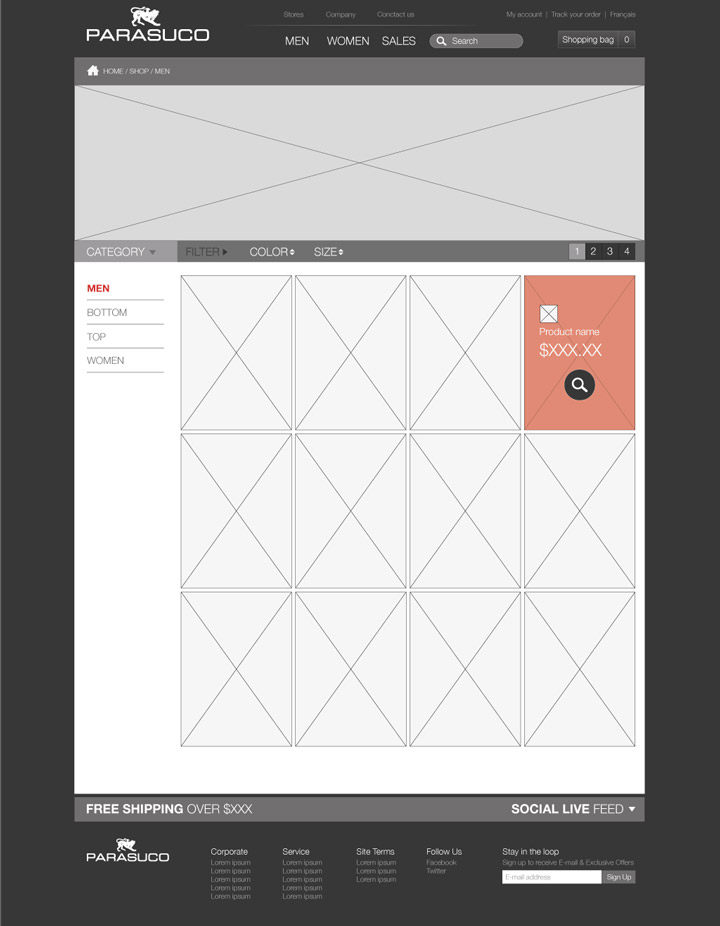 Wireframe - Catalog page