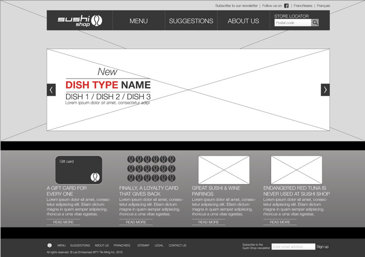 Wireframe - Home page
